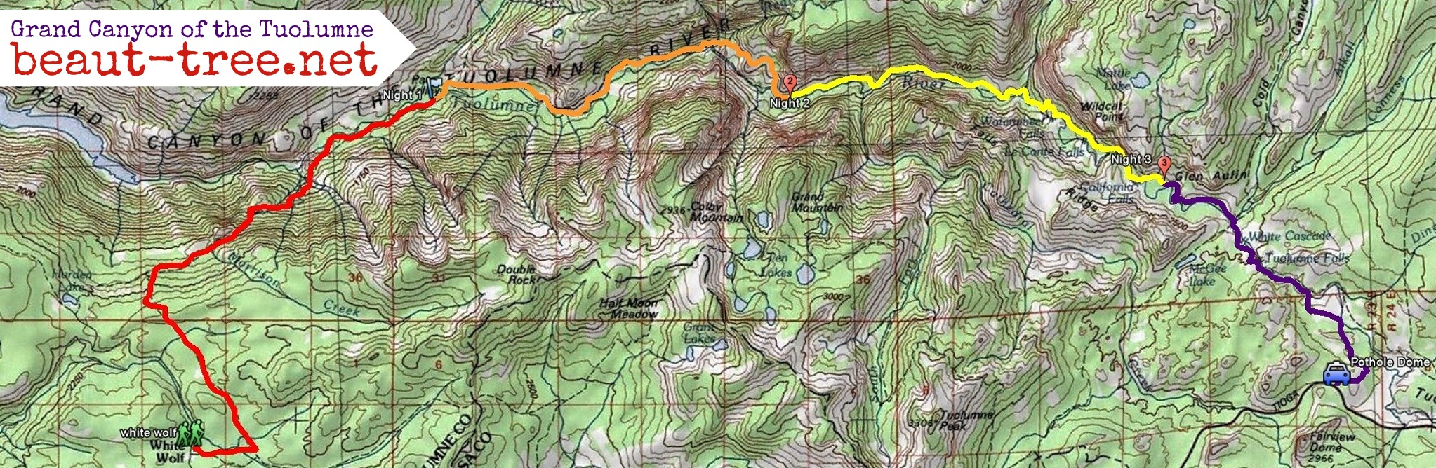 The Grand Canyon on the Tuolumne Backpacking in Yosemite Beaut – Yosemite Tourist Map