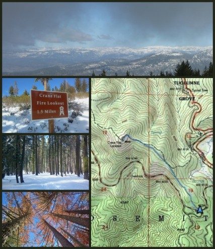 Topo map of yosemite snowshoe to crane flat