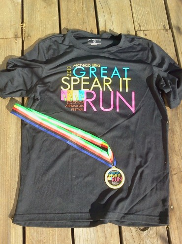 The Tee Shirt and Medal from the Stockton Spear It Run
