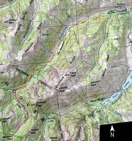 Buckeye Creek Trail Map, Hoover Wilderness