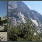 Ride a bus to Olmsted Point and her to hike down to Yosemite Valley to see the views from above and up close!