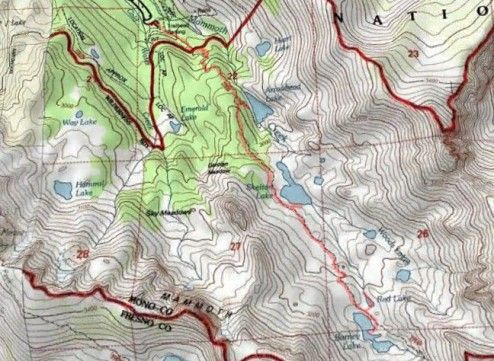 Topo map of Duck Pass Day Hike
