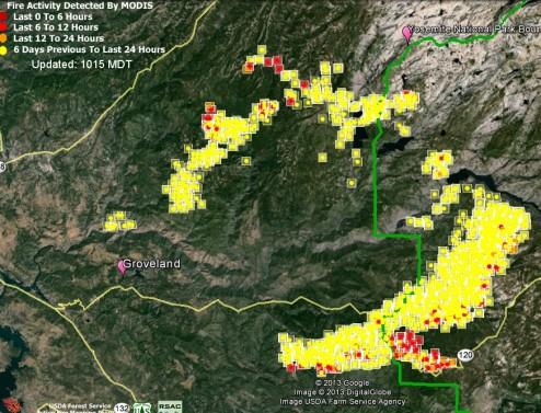 Google Earth Rim Fire Map