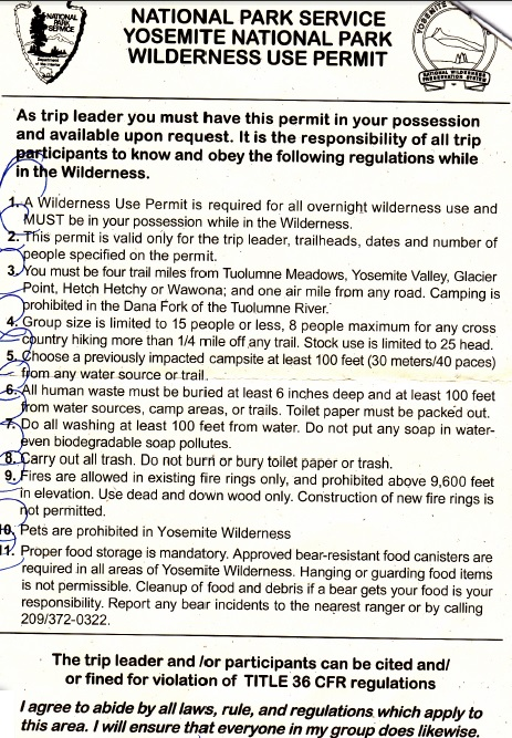 Yosemite Wilderness Permit