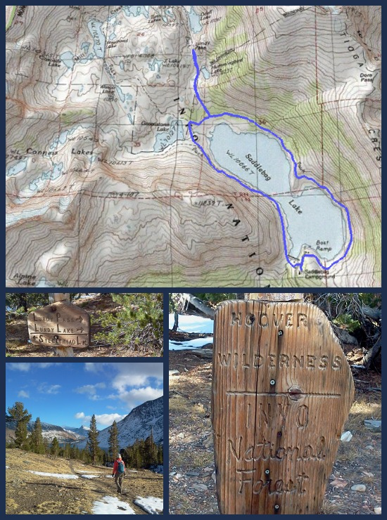 Topo Trail Map for Saddlebag Lake, Inyo National Forest