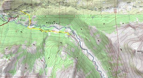 Topo Map of a hike down Lyell Canyon to great little lookout point