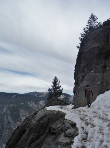 Winter hike on 4 Mile Trail over Yosemite Valley
