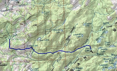 Backpacking to Gem Lake, Emigrant Wilderness Topographic Map