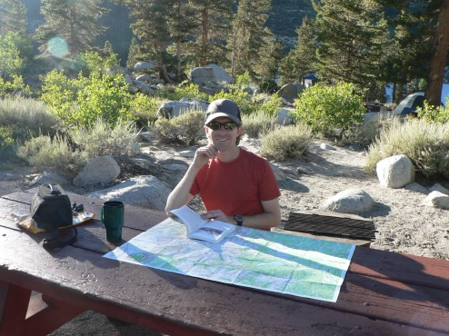 Curtis planning our next day's hike