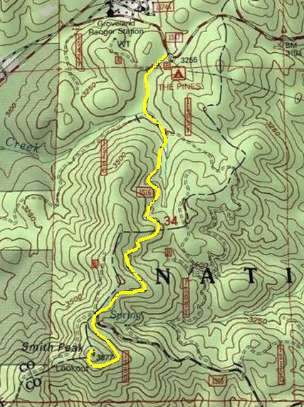 Topo map of  Smith Peak Hike, Groveland Ranger District CA