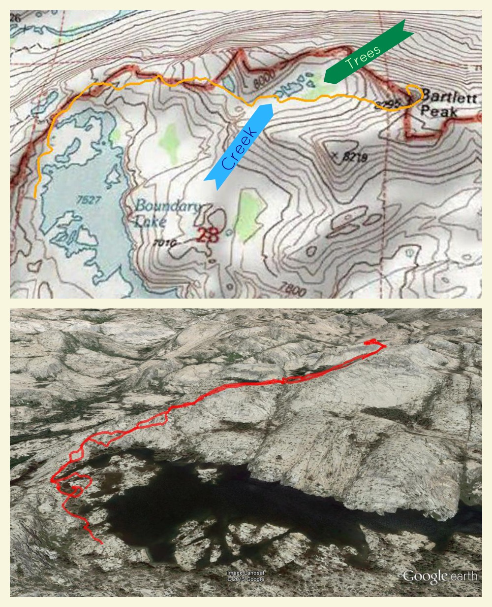 Topographic Map of Bartlett Peak hike, Yosemite