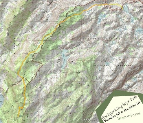 Topographic Map of Styx Pass Backpacking Trip in Yosemite and Stanislaus