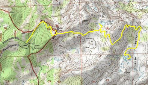Topo Map of Trail to Chewing Gum Lake, Powell Lake, and Burst Rock in Emigrant Wilderness
