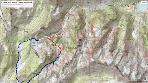 Robinson Creek Backpacking Topo Map. Day one is in Red, day two blue, day three white